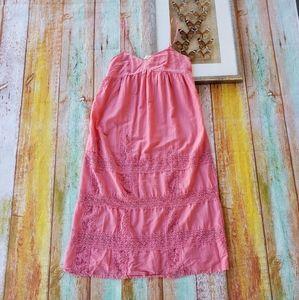 Anthro Feather Bone Coral Lace Midi Slip Dress S